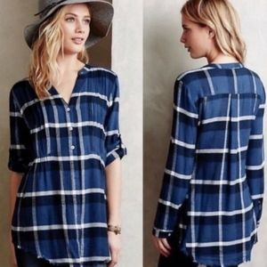 Anthro Holding Horses Blue Flannel Plaid Top Sz 2